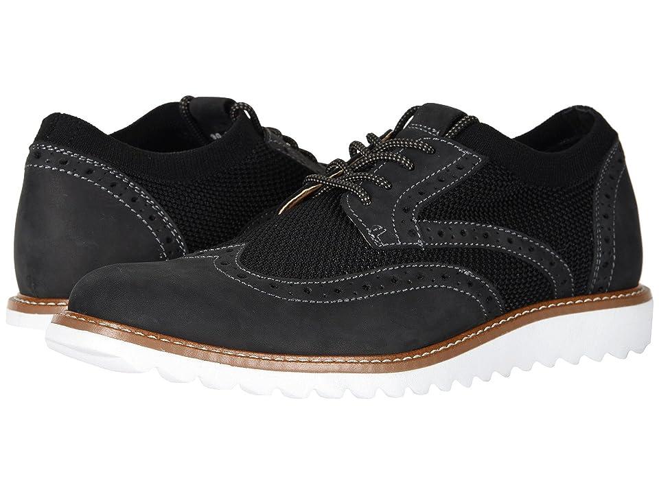 Dockers Hawking Knit/Leather Smart Series Dress Casual Wingtip Oxford with NeverWet (Black Knit/Nubuck) Men
