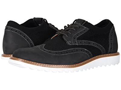 Dockers Hawking Knit/Leather Smart Series Dress Casual Wingtip Oxford with NeverWet (Black Knit/Nubuck) Men