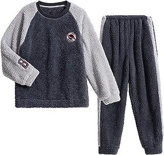Pijama Hombre Set,Invierno Espesar Pelo de Cordero Jersey Ropa de Dormir,Fluffy Coincidencia de Colores Camisón