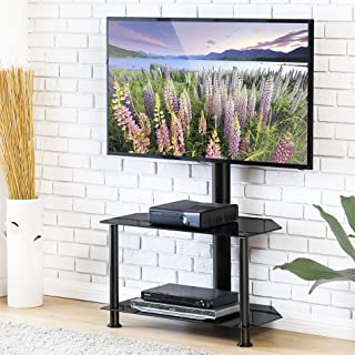 FITUEYES Floor Corner TV Stand with Mount and Height Adjustable TV Stand for 32-55 inches Plasma Flat or Curved Screen TVs 2-Tiers Tempered Glass Shevels
