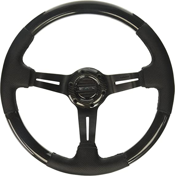 NRG Innovations ST-010CFRS Carbon Fiber Steering Wheel with Leather Accent 350mm 1.5 Deep Red Stitching