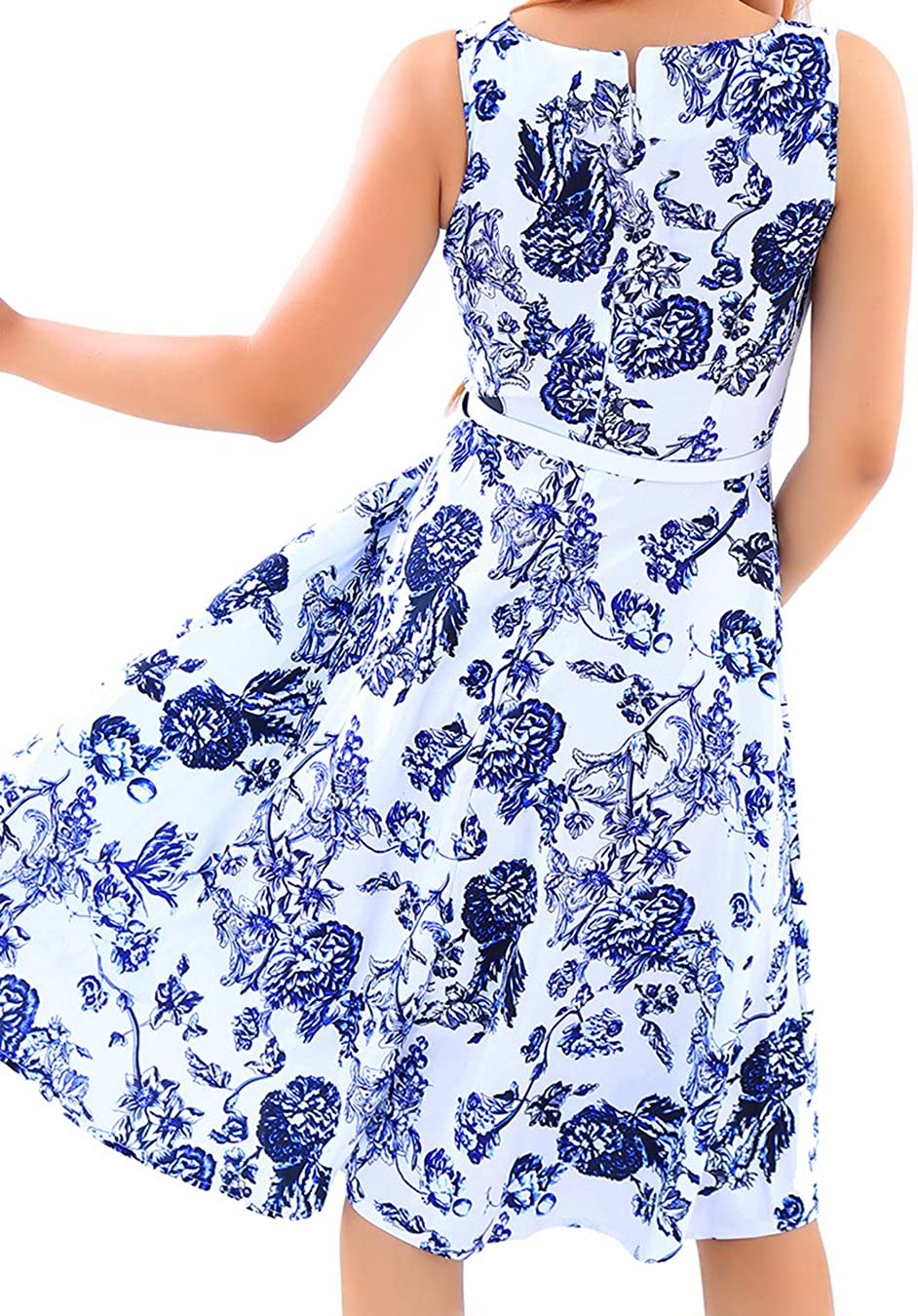 EFOFEI Womens Floral Printed Sleeveless Vintage Swing Summer Midi Party Retro Dress
