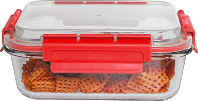Home Basics SC47706 51 oz. Rectangle Leak/Spill Proof Borosilicate Glass Food, Dishwasher Safe Meal Prep Storage Container with Air-Tight Plastic Lid, Red