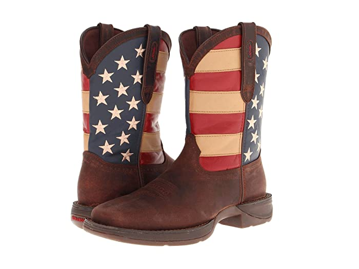 60s , 70s Hippie Clothes for Men Durango DB5554 - Flag Dark Brown Cowboy Boots $155.95 AT vintagedancer.com