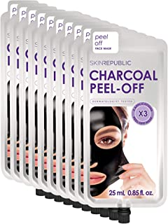 Skin Republic Charcoal Peel-Off Face Mask Treatment Removes Dirt and Blackheads Collection (10 Pack)