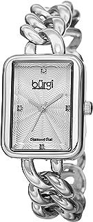 Burgi Women's Silver Tone Sunburst Guilloche Dial Mixed Material Band Watch - BUR100SS