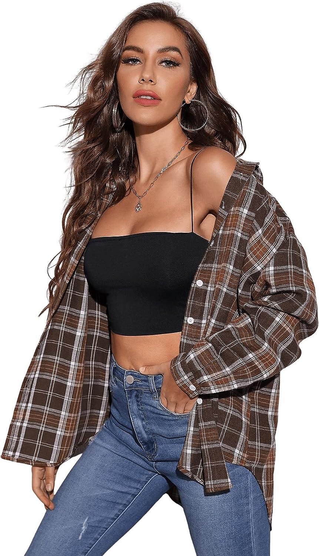 SweatyRocks Women's Long Sleeve Plaid Button Down Collar Tunic Blouse Shirt Top