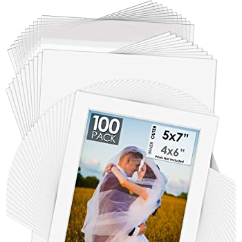 Bags Backings Pack of 100 Sets 5x7 White Picture Mats with White Core for 4x6 Photos