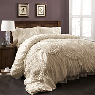 Lush Decor Serena Comforter Ivory Ruched Flower 3 Piece Set, Full/Queen,