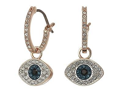 Swarovski Duo Evil Eye Hoop Pierced Earrings (Dark Multi) Earring