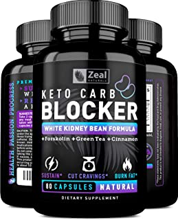 KETO White Kidney Bean Carb Blocker + Forskolin (40 Servings) White Kidney Bean Extract & Forskolin for Weight Loss w Green Tea - Keto Diet Carb Blockers ...