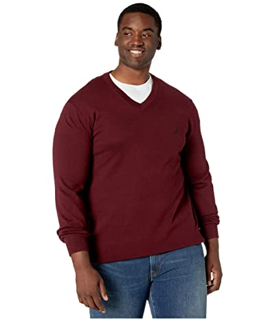 Nautica Big & Tall Big Tall V-Neck Navtech Knit Sweater (Royal Burgundy) Men