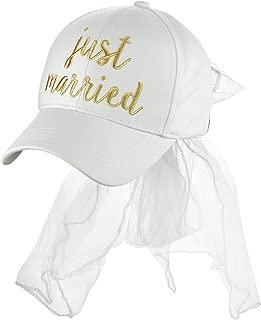 Women's Bridal Metallic Gold Embroidered Adjustable Lace Veil Baseball Cap