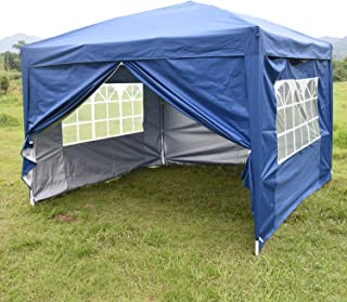 CharaVector 10X10 ft Heavy Duty EZ Pop Up Tent Canopy Gazebo Pavilion Commercial Outdoor Portable Instant Wedding Party Patio Shelter, 4 Removable Sidewalls(Blue)
