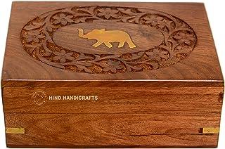 جعبه جواهرات منبت کاری شده حکاکی شده بر روی برنج های چوبی دست سازهای صنایع دستی هند / جواهرات زنانه و مردانه - ذخیره سازی