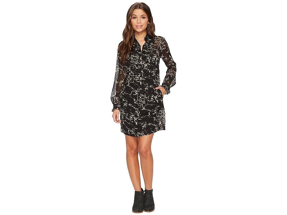Lucky Brand Marble Print Dress (Black Multi) Women