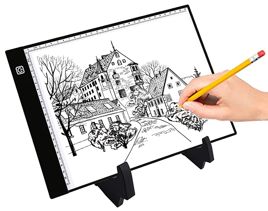 A4 Ultra-Thin Portable LED Light Box Tracer USB Power Cable Dimmable Brightness Artcraft Tracing Light Pad Light Box w Simple Stand for Diamond Paint Artists Drawing Sketching Animation Designing