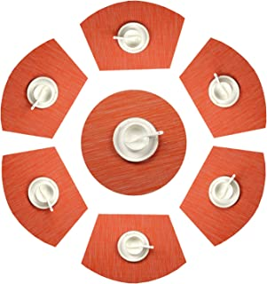 SHACOS Round Table Placemats Set of 7 Wedge Placemats with Centerpiece Woven Vinyl Non Slip Round Table Mats (7,Orange)