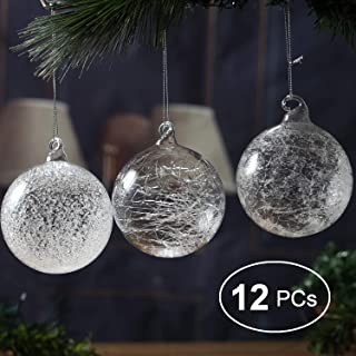 """Christmas Glass Handmade Clear Ball Ornaments 2.36""""/6 cm Silk Frost Glitter Decoration Gift Present Mouth Blown Tree Hanging Wedding Party Home Birthday Glitter Baubles Sphere Set of 12 Pieces"""