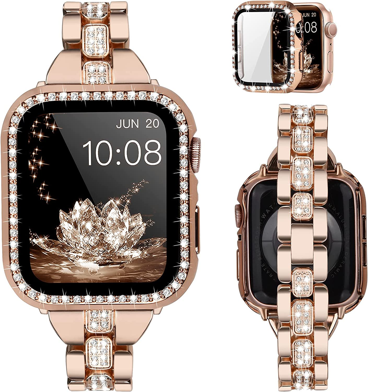 KOREDA Compatible for Apple Watch Bracelet Band 44mm SE Series 6 Series 5 4 with Glitter Bumper Case Women, Jewelry Bling Diamond Rhinestone Metal Adjustable Wristband Strap (Rose Gold, 44mm)