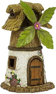 Windmill House Quaint Brown 7 x 5 Resin Stone Outdoor Statue With Opening Door