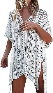 77c33b976e781 JOSIFER Women s Summer Beach Coverups Bikini Swimsuit Crochet Cover ups Net