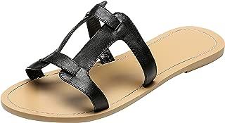 U-lite Womens Casual Geometric Greece Slides Sandal, Black, Silver and Gold Mule Shoes