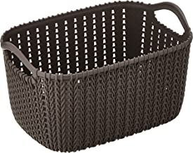 HOUZE SB-1521 Braided Storage Basket with Handle, Brown, Small
