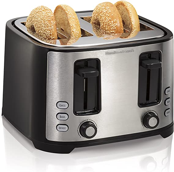 Hamilton Beach 4 Slice Extra Wide Slot Toaster with Defrost and Bagel Functions
