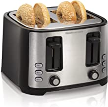 Hamilton Beach 4-Slice Extra-Wide Slot Toaster with Defrost and Bagel Functions, Shade Selector, Toast Boost, Auto-Shutoff and Cancel Button, Black (24633)