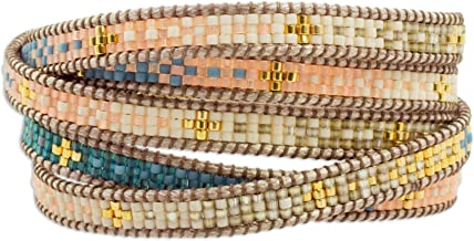 NOVICA Coral and Blue Glass Beaded Wrap Bracelet with Loop Closure, 35