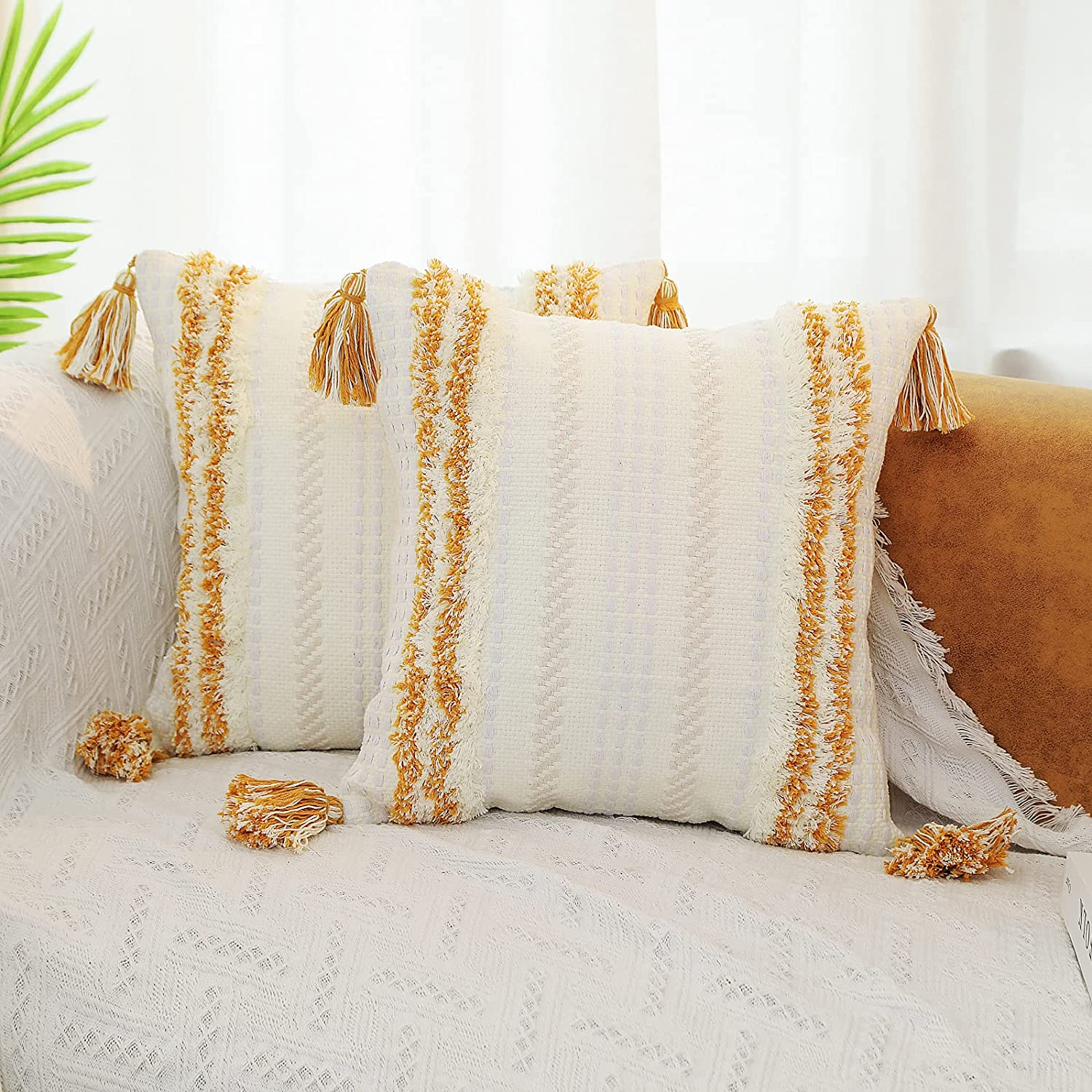 DR.NATURE Department store Set of 2 half Boho Decorative Throw for Couch Pillow Covers