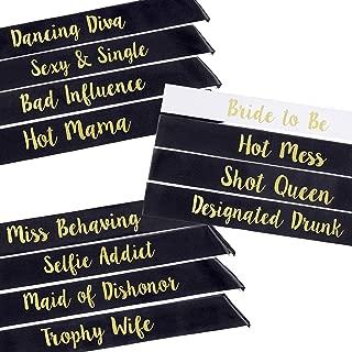 POP FIZZ DESIGNS Bachelorette Sash Set (12 pcs) 1 White Bride to Be Sash + 1 Maid of Honor Sash + 10 Bachelorette Sashes for The Bride Tribe - Amazing Bachelorette Party Favors