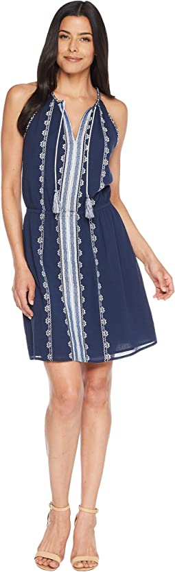 Sleeveless Embroidered Tie Neck Halter Dress