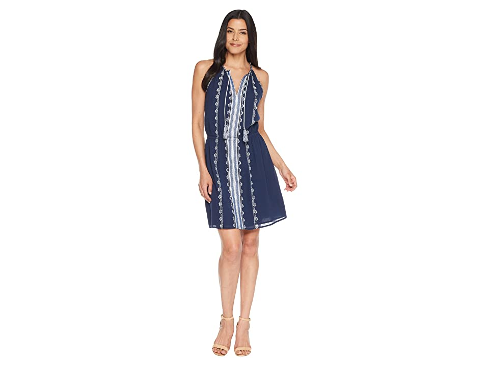 TWO by Vince Camuto Sleeveless Embroidered Tie Neck Halter Dress (High Tide) Women