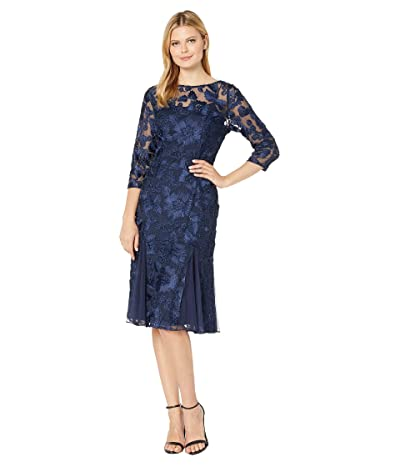 Alex Evenings Midi Length Fit and Flare Embroidered Dress with Illusion Neckline and Sleeves (Navy) Women