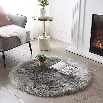 Ultra Soft Round Faux Sheepskin Fur Area Rug Grey Circular Shaggy Rug Round Fluffy Area Rugs Plush Circle Floor Carpet for Bedroom Living Room Floor Decor, 3ft Diameter SERISSA (Light Grey)