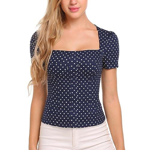 5cc672051d7fa ELESOL Women Polka Dots 1950s Vintage Shirt Casual Short Sleeve Blouse Top  Navy Blue XL