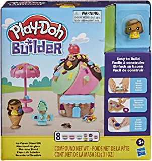 Play-Doh Builder Ice Cream Stand Toy Building Kit for Kids 5 Years and Up with 8 Cans of Non-Toxic Modelling Compound - Ea...