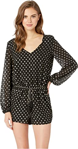 Solstice Party Metallic Dot Printed Crepe de Chine Romper