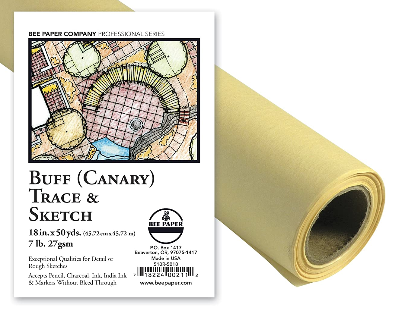Bee Paper Canary Sketch and Trace Roll, 18-Inch by 50-Yards