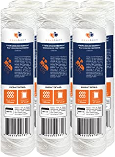 """Aquaboon 5 Micron 10"""" x 2.5"""" String Wound Sediment Water Filter Cartridge 