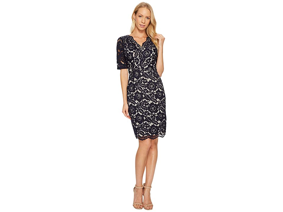 Ellen Tracy Elbow Sleeved Lace Dress with V-Neck and Nude Lining (Navy) Women
