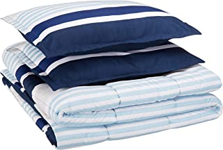 AmazonBasics Easy-Wash Microfiber Kid's Comforter and Pillow Sham Set - Full or Queen, Navy Stripes
