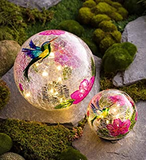 Plow & Hearth 54507 Solar Hummingbird Globes Yard Art, Multicolored