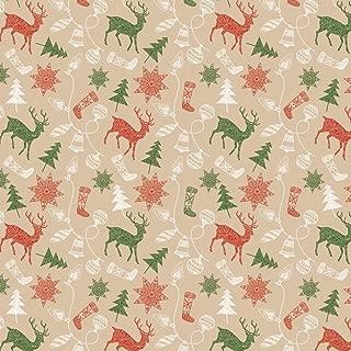 Springs Creative Products Christmas Fabric - Rustic Deer Tree Snowflake Brown - Patrick Lose Yard