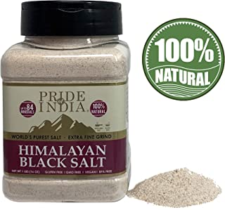 Pride Of India - Himalayan Black Salt (Kala Namak) Extra Fine, 1 Pound (16oz) Dual Sifter Jar - 84+ Natural Mineral Enriched - Great for Vegan Tofu Scrambles - Natural Faux Egg Flavor - Egg replacment