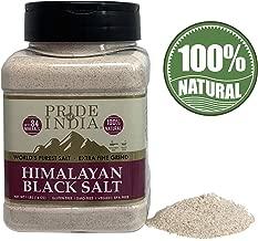 Pride Of India - Himalayan Black Salt (Kala Namak) Extra Fine, 1 Pound (16oz) Dual Sifter Jar - 84+ Natural Mineral Enriched - Great for Vegan Tofu Scrambles - Natural Faux Egg Flavor - Egg replacment