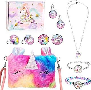 Peluche Unicornio Bolso Bandolera niña Joyas Set, Unicorn Collar Pulsera Pendientes Anillos Joyería Regalo, Artículos de F...