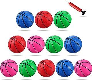 Sumind 12 Piezas Mini Baloncesto de Juguete de 4 Pulgadas, Mini Juguete de Reemplazo de 4 Colores Baloncesto de Plástico Pelota de Aro Inflable con Bomba y Agujas de Baloncesto para Fiesta Deportiva